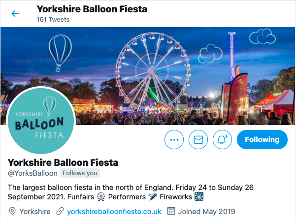 Yorkshire Balloon Fiesta rebranded Twitter header