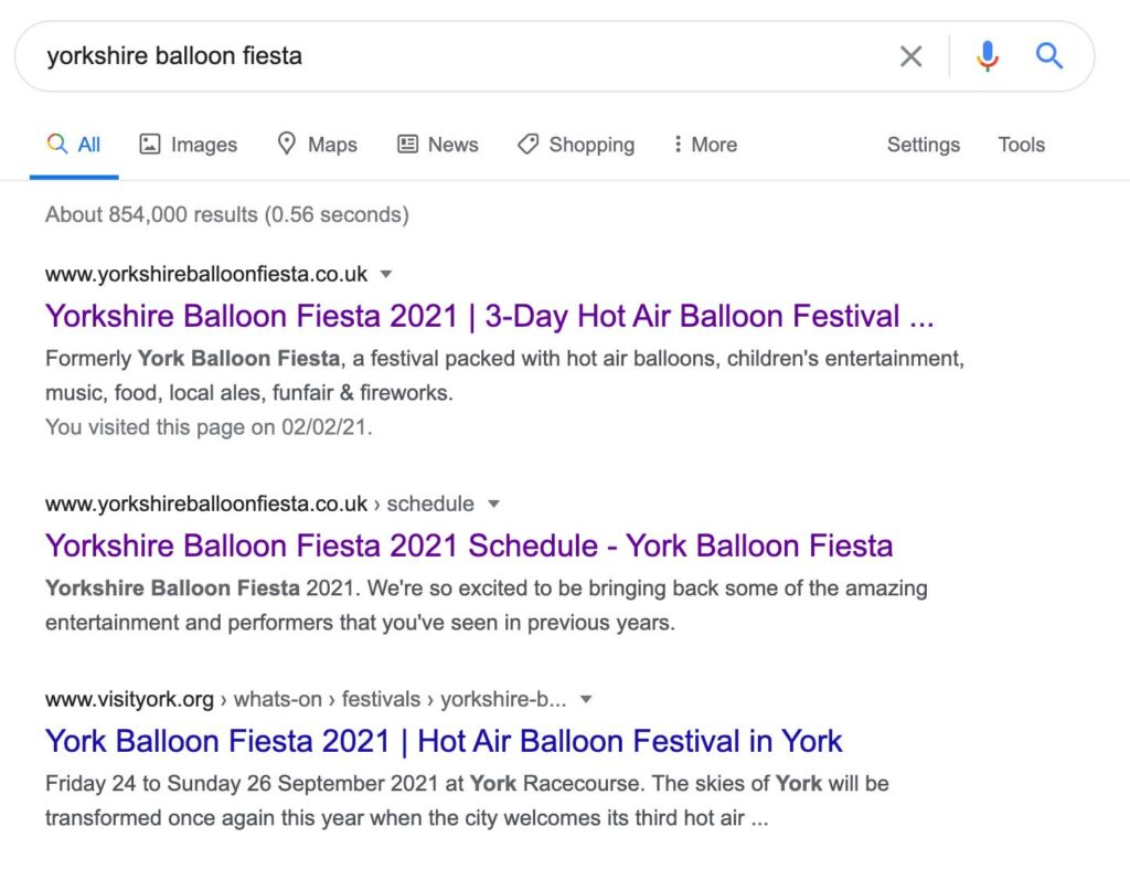 Yorkshire Balloon Fiesta SEO milnerCreative